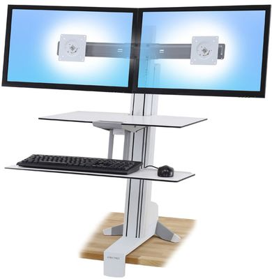 WORKSURFACE & LARGE KYBD TRAY DUAL SIT-STAND BRIGHT WHITE