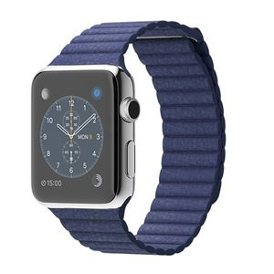 APPLE WATCH 42MM STAINLESS STEEL BRIGHT BLUE LEATHER LOOP-LARGE IN (MJ462S/A)