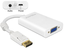DELOCK Adapter Displayport 1.1 St.>VGA Bu.+Audio 0,21m [wh] (65592)