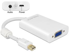 Adapter Displayport 1.1 St.>VGA Bu. + Audio 0,21m [wh]