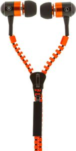 STREETZ Zipper in-ear headset, mikrofon, svarsknapp 1,2m, orange/ svart (HL-216)