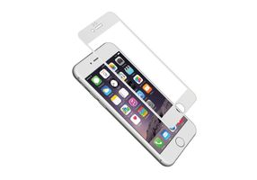 iPhone 6 Plus 9H Glass Screen Protector w/ aerometal frame Clear/ White