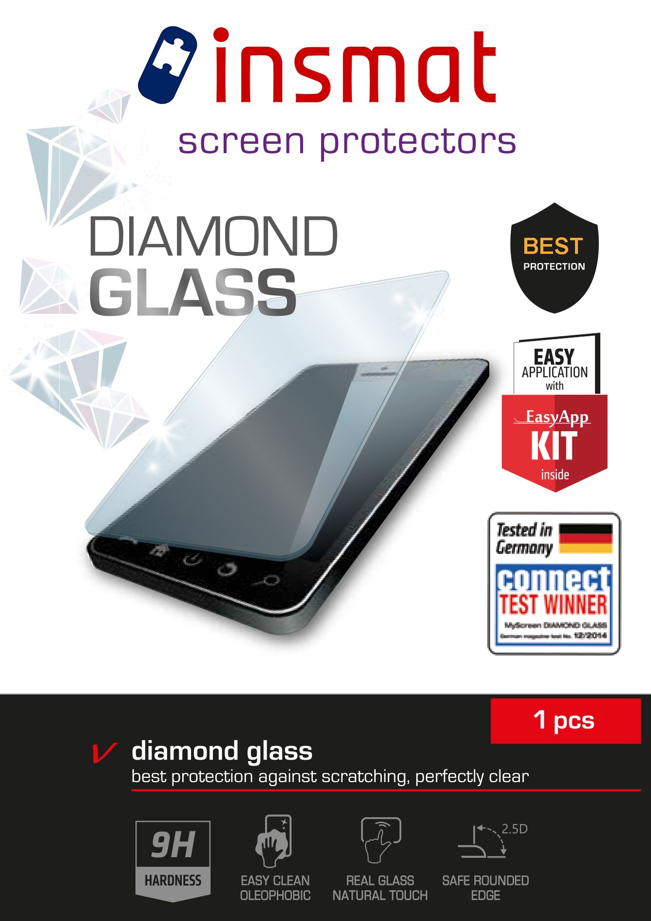 INSMAT Diamond Glass - Skjermbeskyttelse - for Apple iPad Air; iPad Air 2 (860-5070)