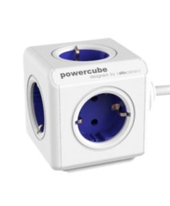 ALLOCACOC PowerCube Extended inkl. 1,5 m Kabel blå Typ F (1306BL/DEEXPC)