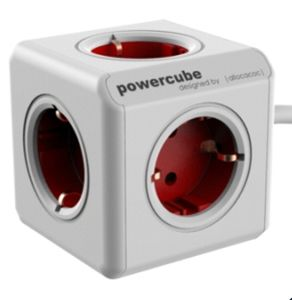 ALLOCACOC PowerCube Extended incl. 1,5 m Cable red Type F (1306RD/DEEXPC)