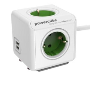PowerCube Extended USB incl. 1,5 m Cable green Type F