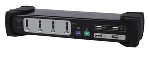 KVM Switch 4x USB/PS2 Dual Monitor schwarz mit Audio