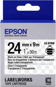 EPSON TAPE - LK6TBN CLEAR BLK/ CLEAR 24/9 (C53S656007)