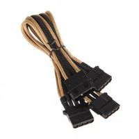 Molex zu 3x Molex Adapter 55 cm - sleeved gold/ schwarz