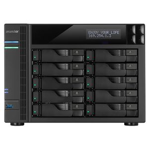 ASUSTOR 10-Bay NAS Core i3 3.5 GHz 2GB DDR3 GbE x 2 HDMI SPDIF PCI-E (10GbE ready) USB 3.0 & SATA LCD Panel WoL System Sleep Mode (AS-7010T)