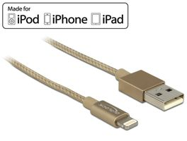 iPhone 5 Kabel 8Pin -> USB A 1.00m textil gold