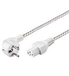 GOOBAY Power Cable CEE7/7 to C15 White/ Silver 2.0m Factory Sealed (93314)