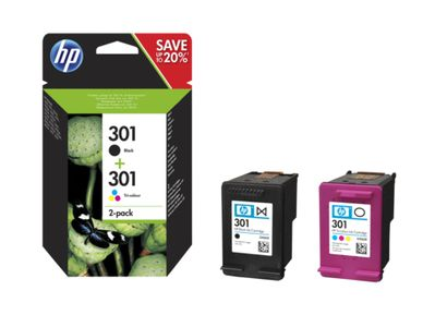 HP No301 black & color ink cartridges (sampack),  blister (N9J72AE#301)