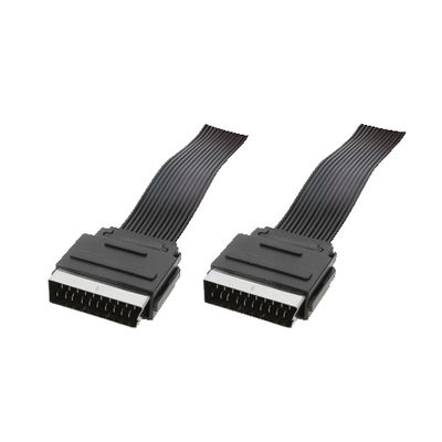 Scart cable, 2x Scart male, flat, 1,50m
