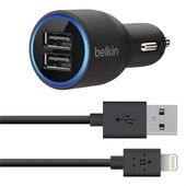 BELKIN 3.4A Car charger with USB port + coiled Lightning connector