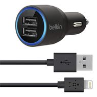 BELKIN IPAD AIR CAR CHARGER 2400 MA LIGHTNING/ 1000MA UNI USB PORT CHAR (F8J154BT04-BLK)