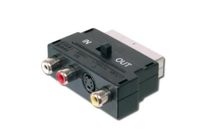 SCART AD. 21PIN-3XRCA/ SVHS PLASTIC HOUSING WITH I/O SWITCH