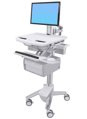 STYLEVIEW CART WITH LCD PIVOT TALL DOUBLE DRAWER CRTS