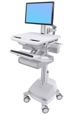 STYLEVIEW CART WITH LCD PIVOT SLA POWERED, DOUBLE DRAWER, EU CRTS