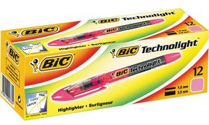 Technolight Tekstmarker Pink - fluorescent - Chisel nib for broad or fine lines (box of 12)