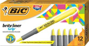 Brite Liner Grip Tekstmarker Yellow - Water-based ink - comfort grip (box of 12)