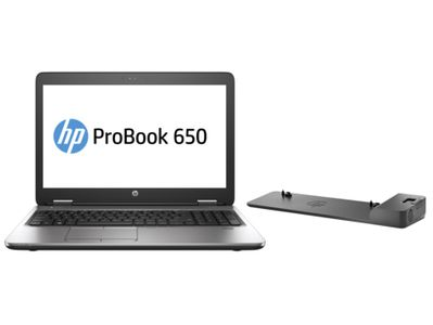 HP ProBook 650 G2 + UltraSlim Docking Station, i5-6200U, DVD Super Multi DL, Touchpad, Windows 7 Professional,  Lithium-Ion (Li-Ion), 64-bit (BT9X74EA3)