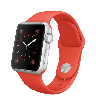 Watch 38mm Silver Case with Orange Sport Band MLCF2FD/A