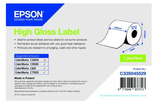 HIGH GLOSS LABEL - COIL: 220MM X 750M