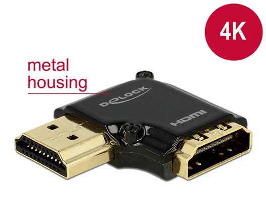DeLOCK HDMI-adapter,  19-pin ho-ha, vinklad 90° vänster,  svart