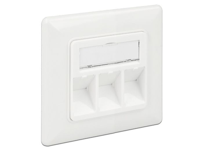 DELOCK Keystone Wall Outlet 3 Port compact (86194)