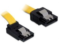 Cable SATA 6 Gb/s male straight>SATA male upwards angled 20 cm yellow met