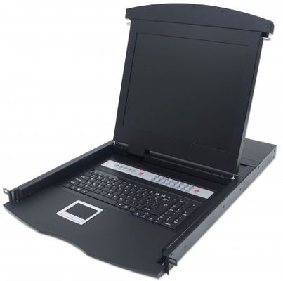 "Server Schrank ZUB 17"" KVM Switch LCD Console 16-Port USB + PS/2 [bk]"