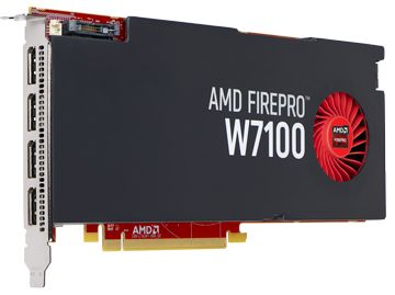 AMD FIREPRO W7100 8GB GDDR5 PCIE 3.0 16X 4X DP RETAIL        IN CTLR (100-505975)
