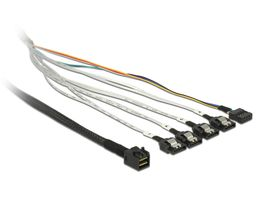 Cable mini SAS SFF-8643>4xSATA 7 pin +Sideband kabel, 1m