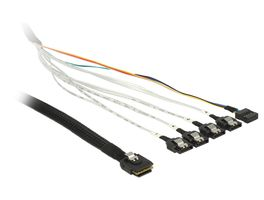 Cable mini SAS SFF-8087>4xSATA 7 pin +Sideband kabel, 1m