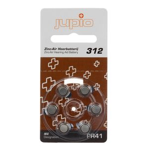 JUPIO Hearing Aid 312 Zinc Air Brown PR41 6 pcs (JCC-312)