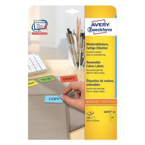 AVERY Coloured Labels Yellow (L6035-20)