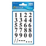 AVERY Numbers, Black number  on Transparent Film 15, 5mm/ 62pt,  2 sheets/ pack (3724)