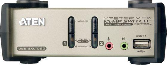 KVM-switch,  1 konsol styr 2 datorer, USB, 2 extra USB-portar,  OSD