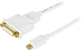 Mini DisplayPort till DVI-I kabel, ha-ho, 1m, vit