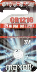 MAXELL knappcellsbatteri,  CR1216, Lithium, 3V, 1-pack (CR1216)