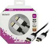 DELTACO HDMI with Ethernet cable HDMI 2m Black
