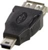 DELTACO USB-adapter Typ A ho - Typ Mini-B ha, svart (USB-72)