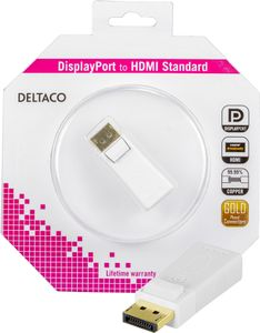 DELTACO DisplayPort till HDMI adapter, 20-pin ha - ho, vit (DP-HDMI3-K)