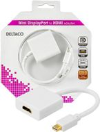 Deltaco mini DisplayPort till HDMI adapter, 20-pin ha - ho, 18cm, vit (DP-HDMI2-K)
