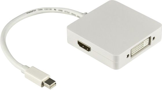 Mini DisplayPort till DVI/ HDMI/ DisplayPort,  0,2m, vit