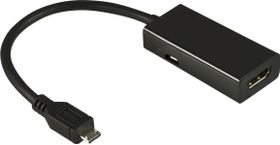 MHL-adapter,  USB micro B ha till 19-pin HDMI ho, 0,2m, svart