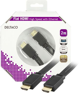 HDMI-kabel,  v1.4+Ethernet,  19-pin ha-ha, 1080p, flat, svart,  2m