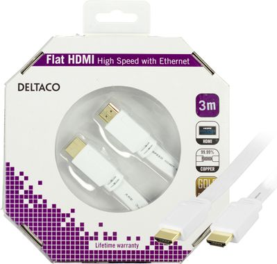 HDMI-kabel,  v1.4+Ethernet,  19-pin ha-ha, 1080p, flat, vit,  3m