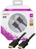 HDMI-kabel,  v1.4+Ethernet,  19-pin ha-ha, 1080p, svart, 1,5m